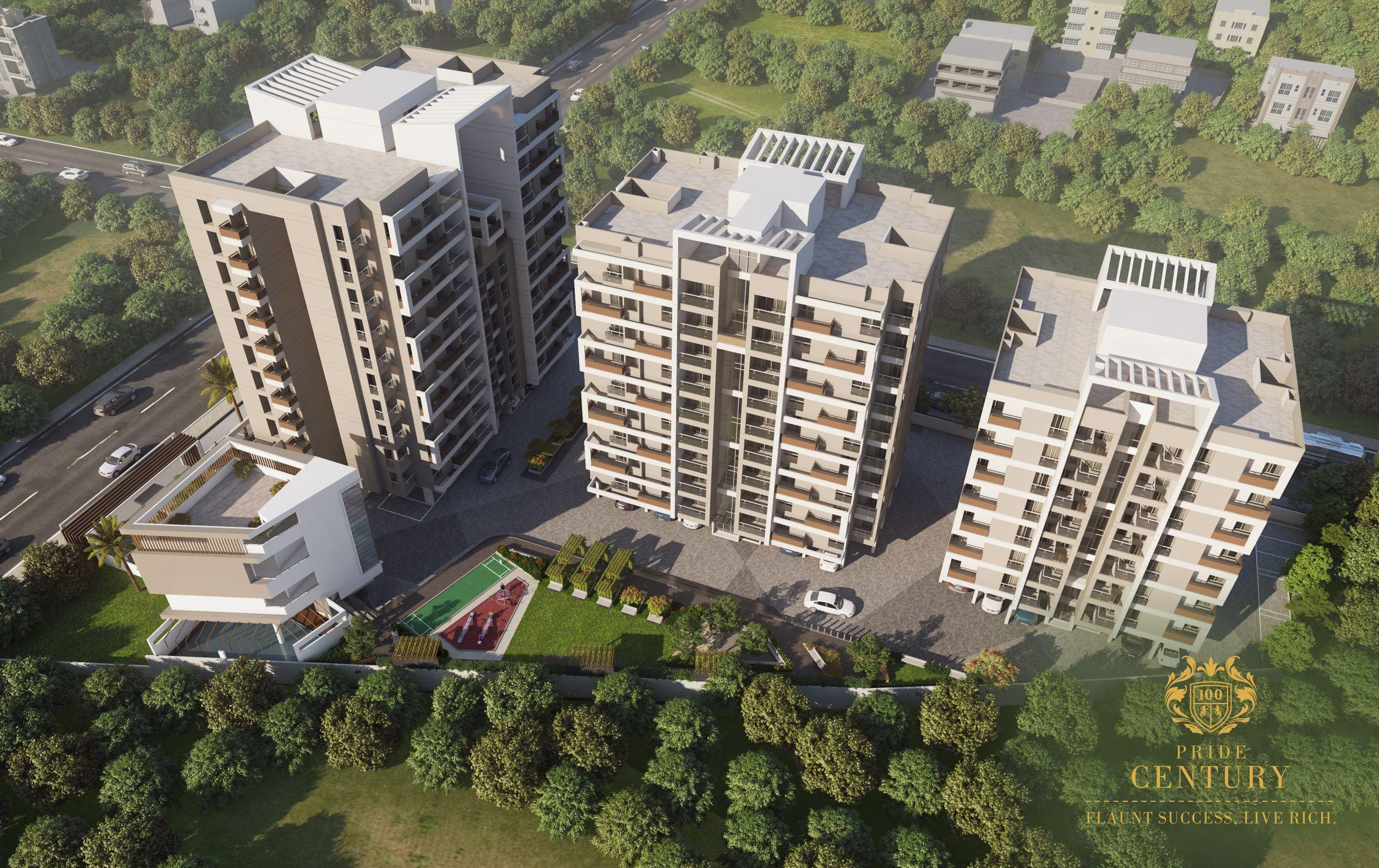 birds eye view top pride century want to buy 4 bhk flat in city aurangabad pride group rich class people rera approved properties